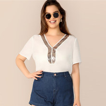 Plus ize White V-Neck Contrast Sequin Detail Top Blouse 2019 Women Summer Casual Short Sleeve Officewear Blouses Shirt