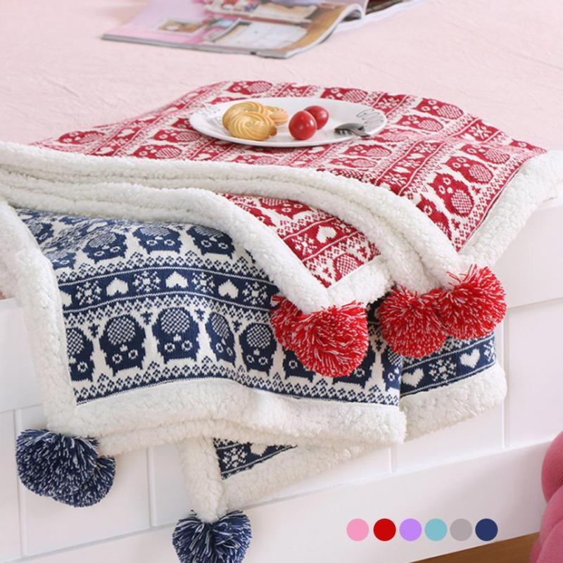 Baby Blanket For Children Super Soft Cotton Cashmere Knitted Blanket With Woollen Ball For Children Cute Baby Bed Blanket R3