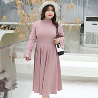 Fall Winter New Style Large Size (XL 4XL) High Collar Women's Medi Dress
