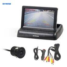 DIYSECUR 4.3 pollici Pieghevole TFT LCD Car Monitor HD Vista Posteriore di Sostegno D'inversione Videocamera per auto Sistema di Parcheggio Caricabatteria Da Auto