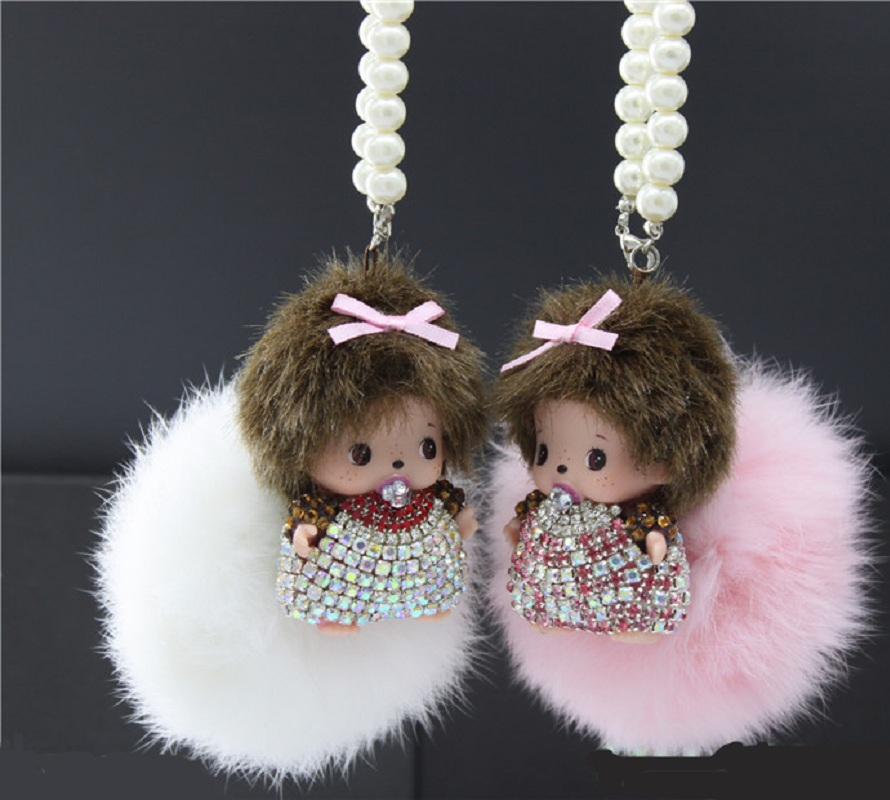 New Design Women Gift Cute Monchichi Fluffy Faux Rabbit Fur Pom Pom Key Chain For Car
