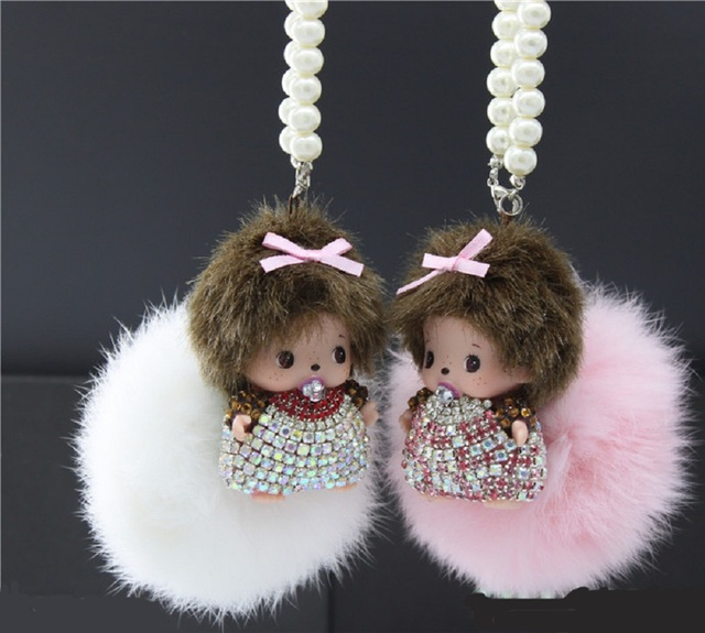 New Design Women Gift Cute Monchichi Fluffy Faux Rabbit Fur Pom Pom Key Chain For Car Key Ring Bag Pendant Fur Ball Keychain
