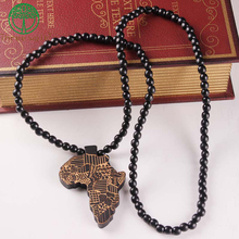 Деревянные Африканские ожерелье кулон и цепочка Африканская Карта подарок для мужчин/женщин эфиопские ювелирные изделия Модные драгоценные аксессуары