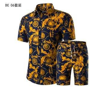 Polo-Shirt Short-Sleeve Suit Men Set Floral Casual Beach Camo 2piece Print Graphic OEM