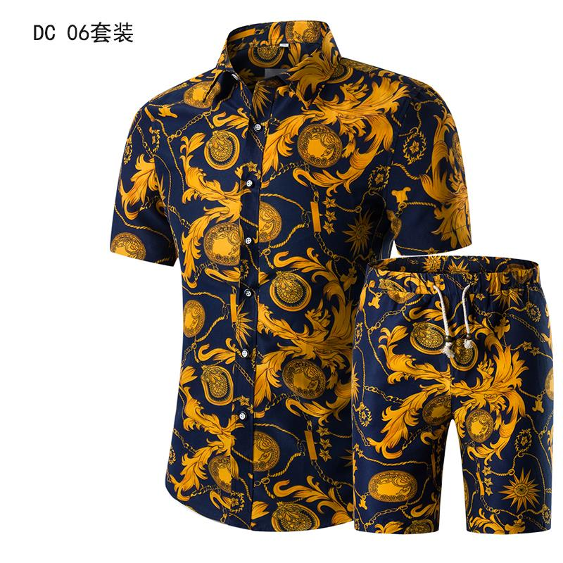 Short Sleeve Polo Shirt 2 Piece Men Set Suit Casual Shorts Camo Golden  Sport Wear Floral Beach Hawaiian Shirt Print Graphic