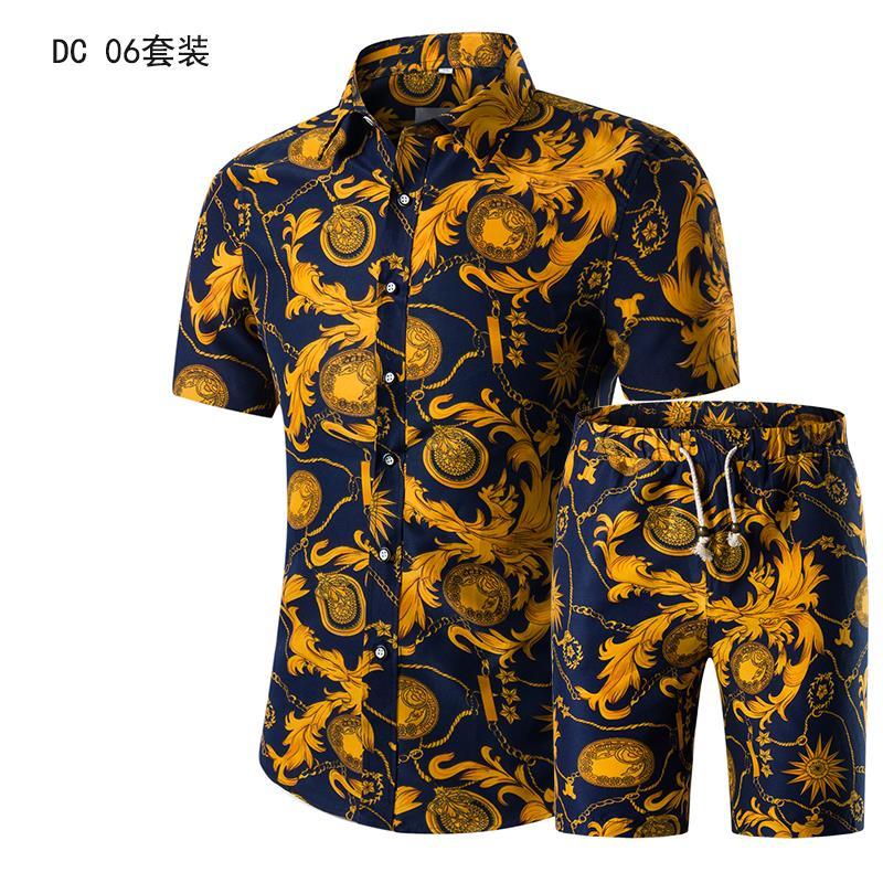 Short Sleeve Polo Shirt 2 Piece Men Set Suit Casual Shorts Camo Golden  Sport Wear Floral Beach Hawaiian Shirt Print Graphic