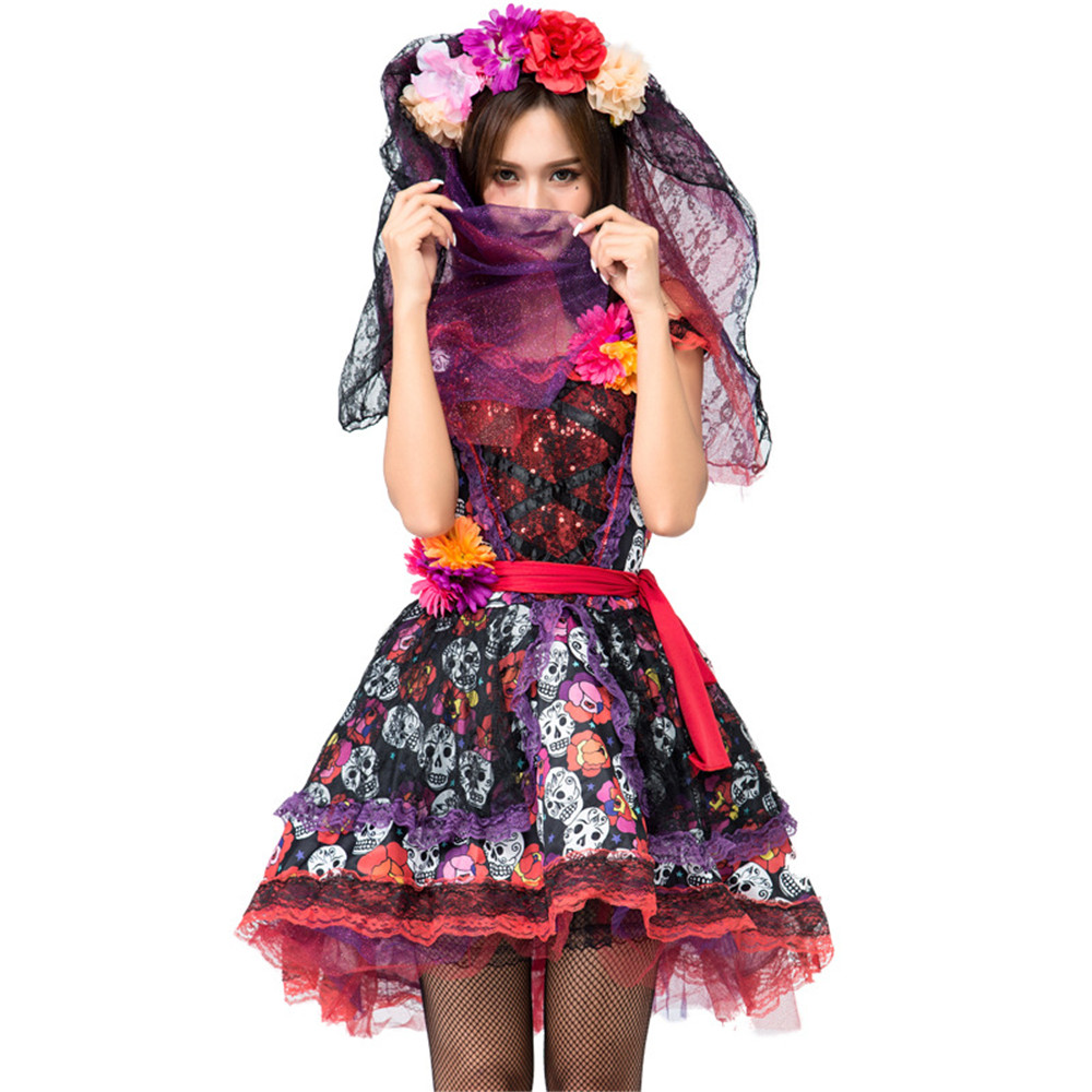 Skeleton Day Of The Dead Costume Women's Sexy Sugar Skull  Flower Fairy Halloween Ghost Vampire Bride Fancy Dress
