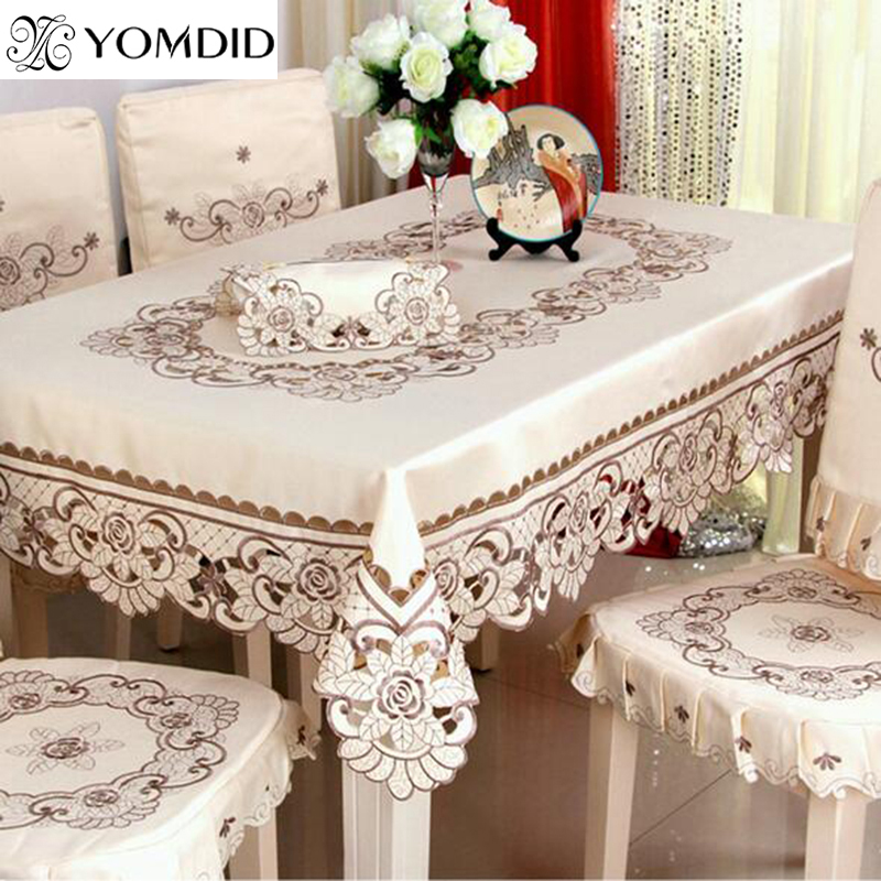 Embroidered Table Cloth Dining/wedding Floral Rectangular Tablecloth For Home Hotel Round And Square Table Cloth
