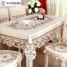Mantel de mesa de comedor bordado/mantel Rectangular Floral de boda para hotel hogar redondo y mantel cuadrado
