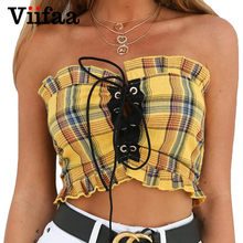 87523ffaf3 Viifaa Yellow Plaid Cropped Top Women Ruffle Sexy Lace Up 2018 Streetwear  Summer Tank Top Elastic Bust Crop Tops