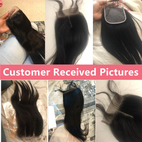 Bling Hair 4x4 Brazilian Straight Human Hair Closure with Baby Hair Free/Middle/Three Part Lace Closure 100% Remy Natural Color Multan