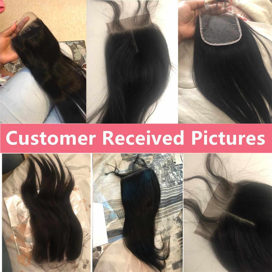 Pelo brillante 4x4 Cierre brasileño recto del pelo humano con el pelo del bebé libre/Medio/encaje de tres partes cierre 100% Remy Color Natural