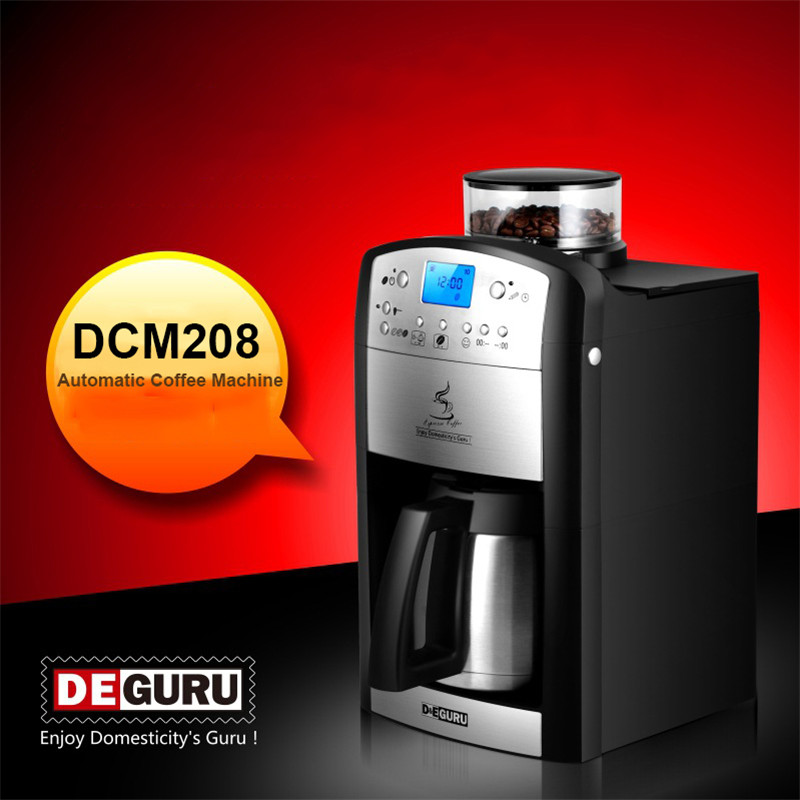 DCM-208 Household Electric Coffee Machine Toper Roaster Coffee Maker Fully Automatic Coffee Maker Electric Coffee Grinder household fully automatic coffee maker cup portable mini burr coffee makers cup usb rechargeable capsule coffee machine