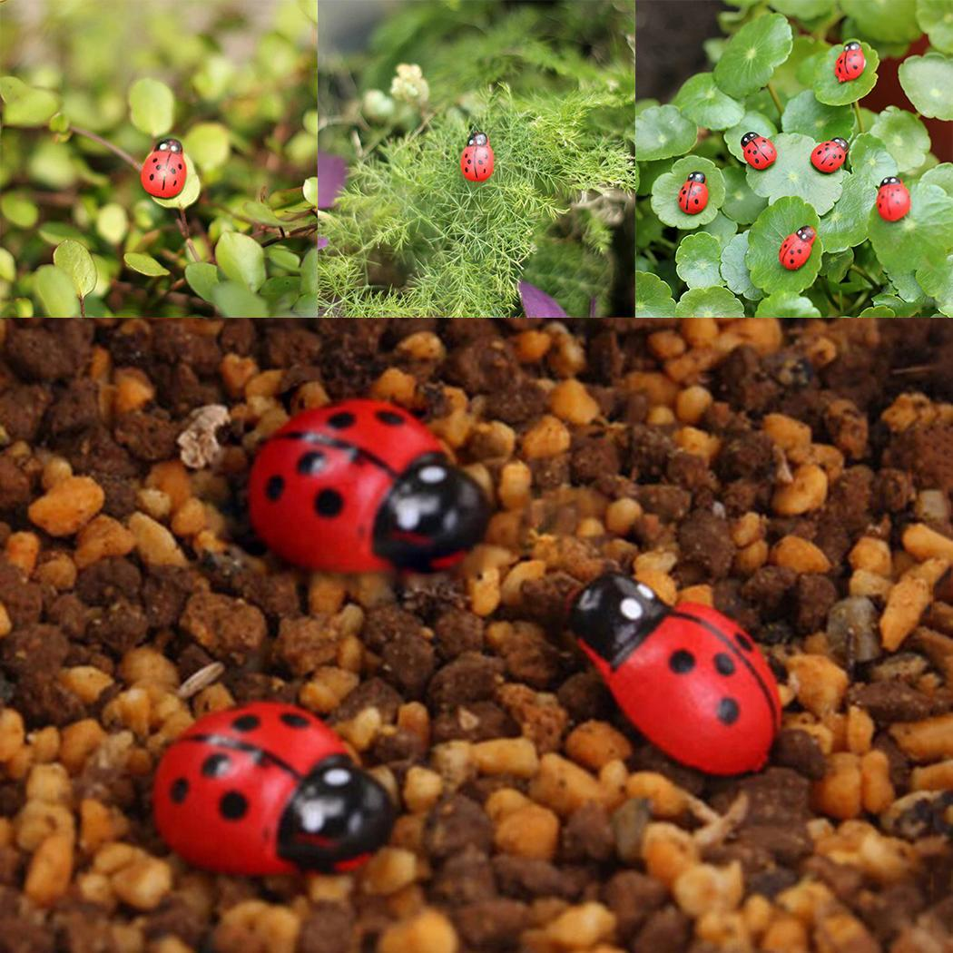 Garden Cute Accessories Decoration Mini Red Shape Ladybug Animal DIY Home Print