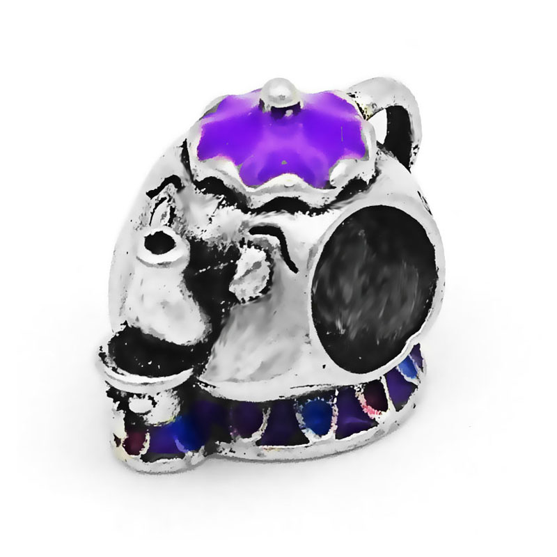 Free shipping 1PC Silver Enamel Pig Teapot Beads Charms Fits Pandora Charm Bracelets DIY Fashion Jewelry