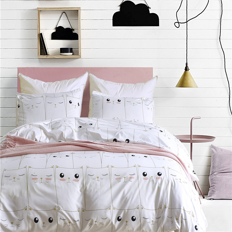 Music Memorabilia Capable Cute White Kitten Pattern Pillowcase 2/3cs Pduvet Cover Set Soft Bedding Sets Usa Queen Double King Twin Size Bedlinen Bedspread Fashionable And Attractive Packages Rock & Pop