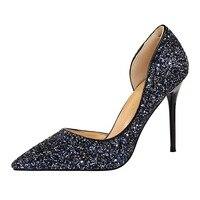 HAJINK נשים משאבות חתונת גליטר עקבים גבוהים סקסיים אישה נעלי פגיון נעלי כסף זהב נשי עקבים 9.5 ס