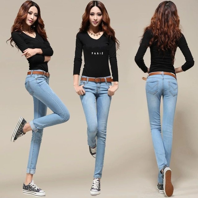339ae4e423864c New 2014 100%Cotton Stretch Skinny Jeans women Denim trousers ...