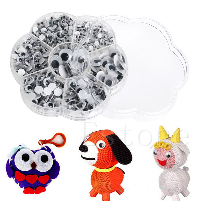 700Pcs 7 Sizes DIY Round Self-adhesive Wiggly Googly Eyes For Doll Animal Toy