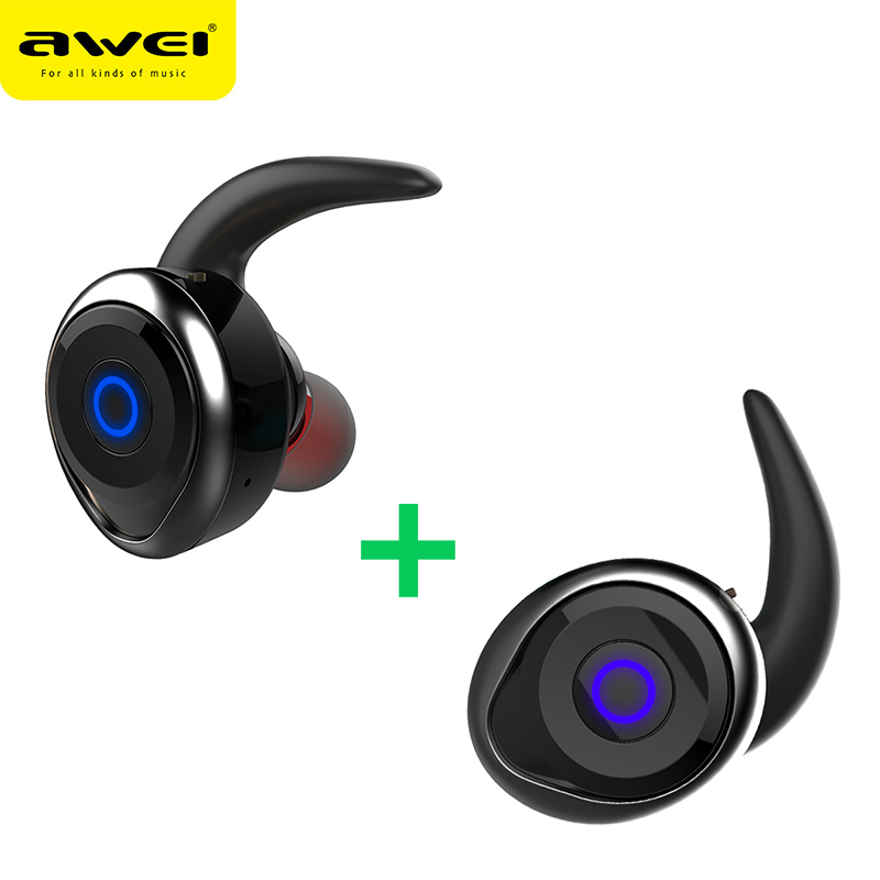 AWEI T1 TWS Bluetooth Earphone Mini Bluetooth V4.2 Headset Double Wireless Earbuds Cordless Headphones Kulakl k Casque mini bluetooth v4 2 noise cancelling earphone double wireless earbuds support tws headphones awei t1 headset earpiece for phone