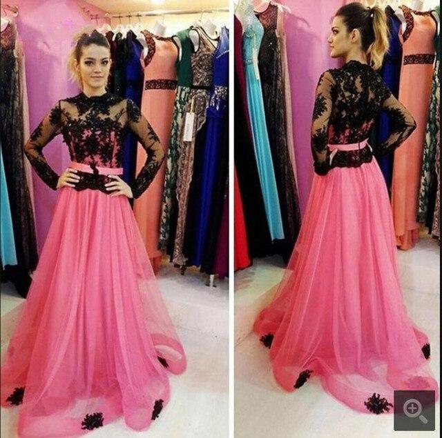 Rosa de la vendimia de encaje negro A Line modestos Vestidos de ...