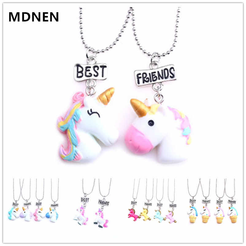 MDNEN 2PCS 8 Kinds Unicorn Pendant Necklaces for Children Girls Best Friends Friendshipe Necklace Chain Jewelry