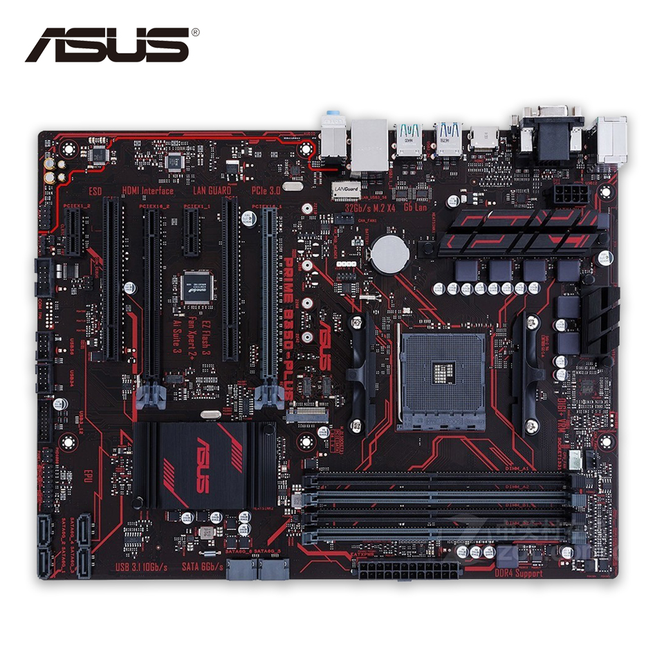 Asus PRIME B350-PLUS Desktop Motherboard AMD B350 Socket AM4 AMD Ryzen DDR4 64G SATA3 USB3.1 Micro-ATX