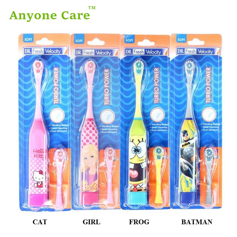 Acoustic Wave Vibration Toothbrush with 1 brush head Cartoon Children Electric Toothbrush Massage Brush ultra soft children kids cartoon toothbrush dental health massage 1 replaceable head outdoor travel silicone retractable folding
