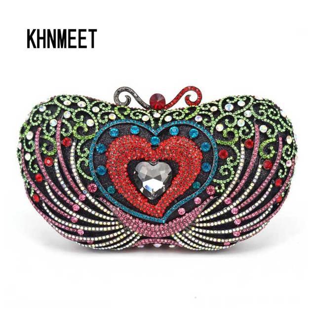 eb8534033 Coração vermelho Forma de Maçã Saco de Embreagem Rosa Pedras de Luxo  Personalizado Diamante Embreagens do