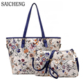 SAICHENG 3 Sets Women Ethnic Handbags National Flowers Messenger Bags Summer Composite Spain Bags Woman Neverfull Chinese Bag