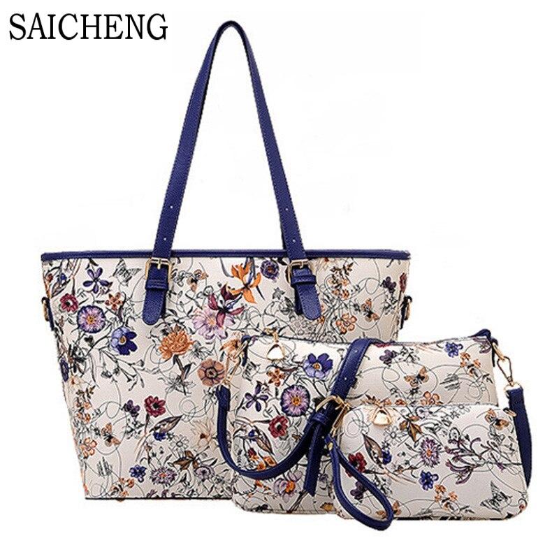 SAICHENG 3 font b Sets b font Women Ethnic font b Handbags b font National Flowers