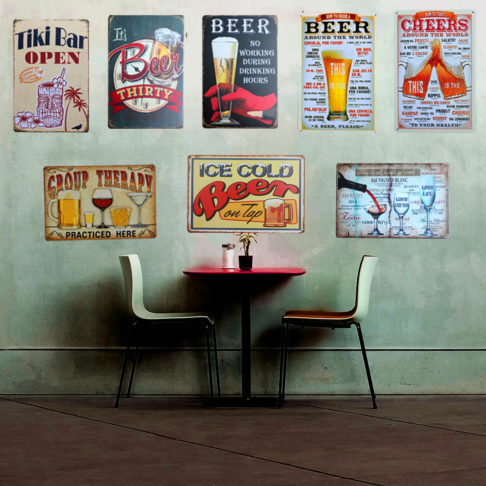Plaque beer vintage metal tin sign wall sticker decoration for Plaque deco cuisine retro