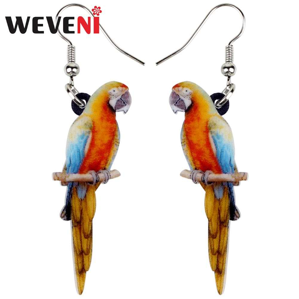 WEVENI Acrylic Novelty Floral Resting Parrot Bird Earrings Big Long Dangle Drop Tropic Animal Jewelry For Women Girl Teens Gift