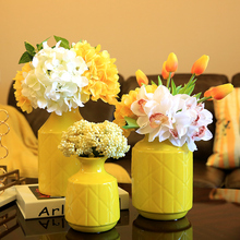 Modern Ceramic Vase yellow green wedding vase centerpieces for tables decoration flower with vase home decoration accessories