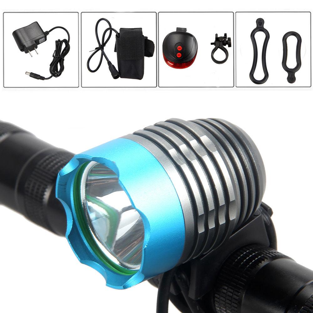 Цена за 5000Lm XML T6 СВЕТОДИОДОВ Передней Велосипедов Свет Велосипеда Фары Факел Фонарик Лазерного Света с Батареей Набор