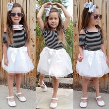 5e4ab0d20b0f Summer Baby Girls Classic Blue Striped Dress Kids Beach Sundress Cute One-piece  Vest Striped Bow Tutu Party Dress