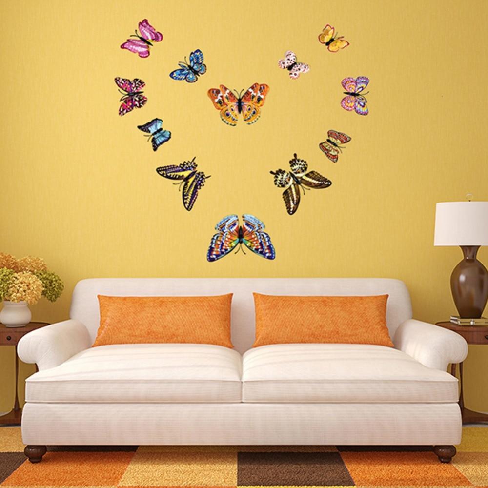 12pcs PVC 3D DIY Butterfly Luminous Glow In Dark Design Decal ...