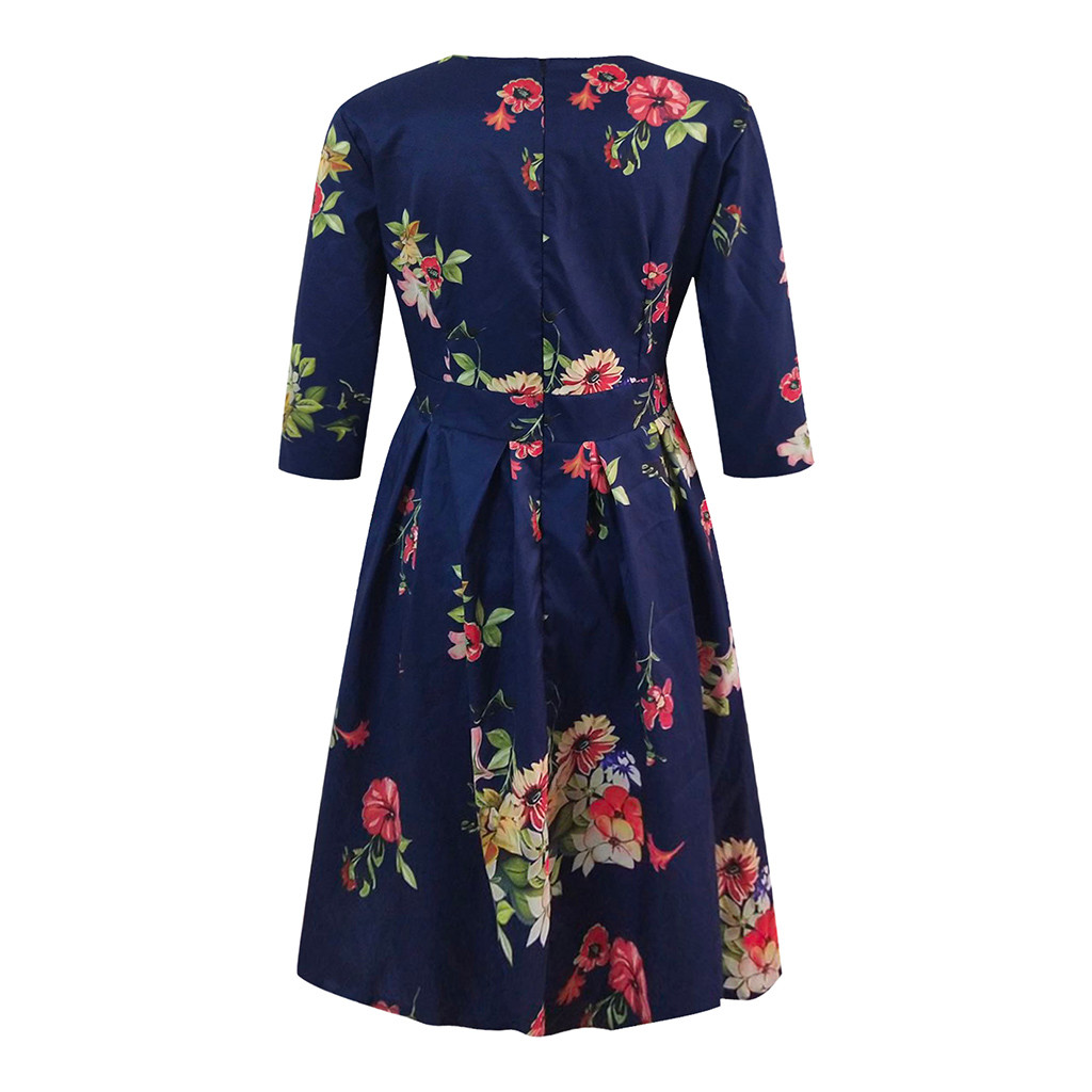 2019 Fashion Sexy Dress Girl Summer Dresses Casual Elegent A-line Vintage Printing Party Vestidos Dress Women Summer Plus Size