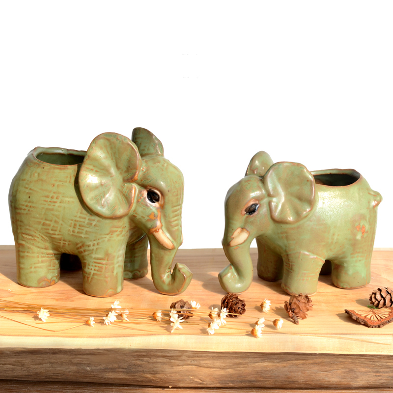 Fun retro elephant ceramic small flower pot Creative Pastoral African elephant plant flowerpot