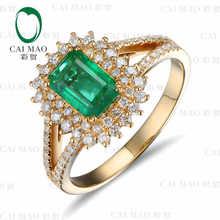 CaiMao 1.12 ct Natural Emerald 18KT/750 Yellow Gold 0.48 ct Full Cut Diamond Engagement Ring Jewelry Gemstone