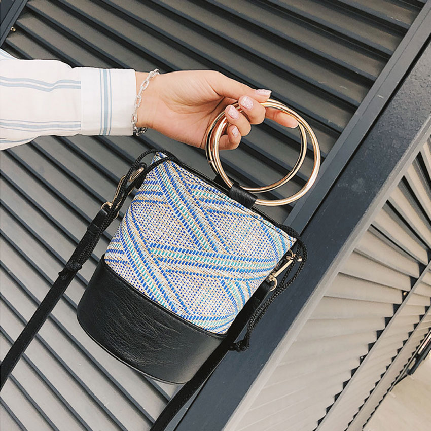 LJT Japan Style Bucket Cylindrical Straw Bags Ring Handbags Woven Women Crossbody Bags Metal Handle Shoulder Tote Bag String