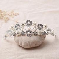 Elegant Pearls Crystal Flower Shape Wedding Tiaras Headbands Handmade Wedding Hair Accessories Bridal Headpiece Made In