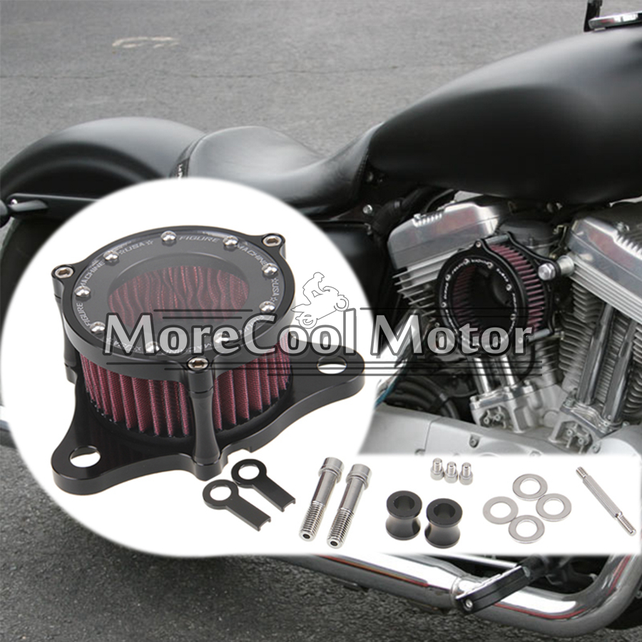 ФОТО CNC Air Intake Filter For Harley Sportster XL 883 1200 2004-2014 Scooter Motorcycle Air System Cleaner