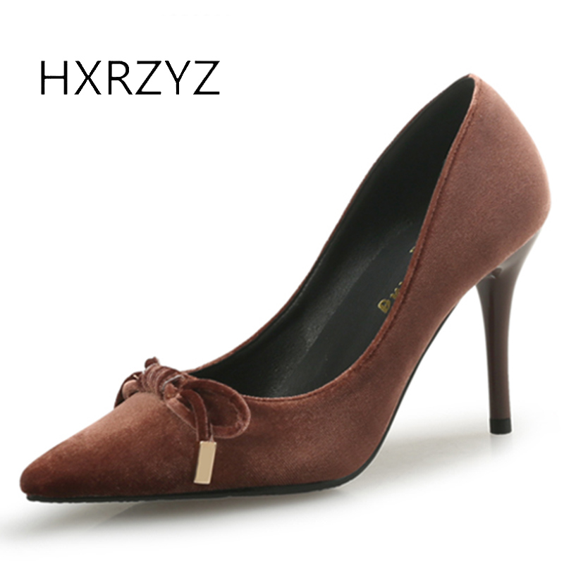 HXRZYZ high heels women velvet bow sexy black pumps female fashion thin heel single shoes pointed toe suede women dress shoes носки средние женские stance retro an teal