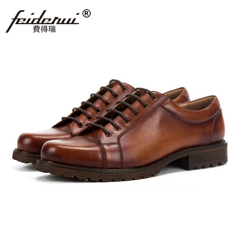 Vintage Real Genuine Leather Outdoor Men's Handmade Footwear British Style Round Toe Derby Platform Formal Dress Man Shoes SS271