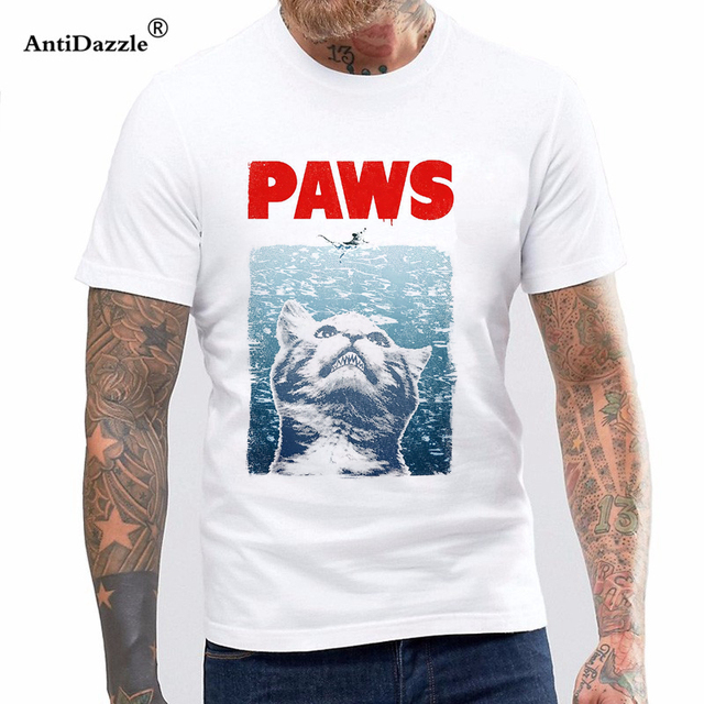 Antidazzle 2017 Fashion Hot Cool T Shirts For Men Paws Shirt Jaws Parody Pun Funny Slogan Cat Meow Cute Birthday My Tee