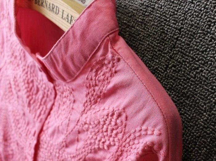 Mujeres Étnico Bordado de Rayas Blusa de Cuello de Pie Camisas de Lino de Algodó