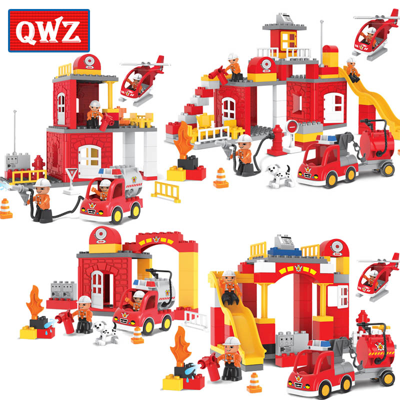 QWZ Large Size 35-90PCS Fire Station Fire Engine Model Building Blocks Bricks Figure Kids Educational Toys Compatible With Duplo qwz 39 65pcs farm animals paradise model car large particles building blocks large size diy bricks toys compatible with duplo