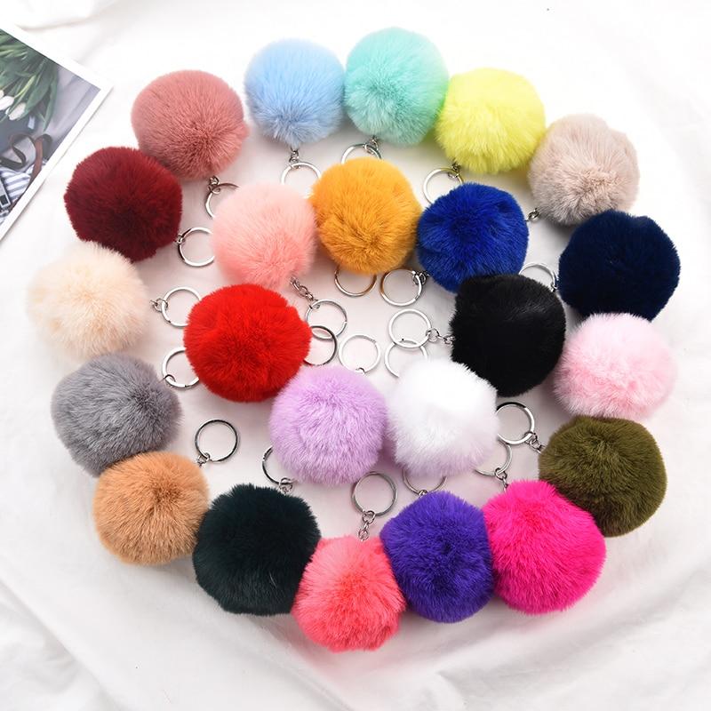 2019 Fashion Fluffy Fur Keychain Pompom Fake Fur Ball Key Chain Pompon Keyring Bag Charms Key Ring Llaveros Chaveiros EH338