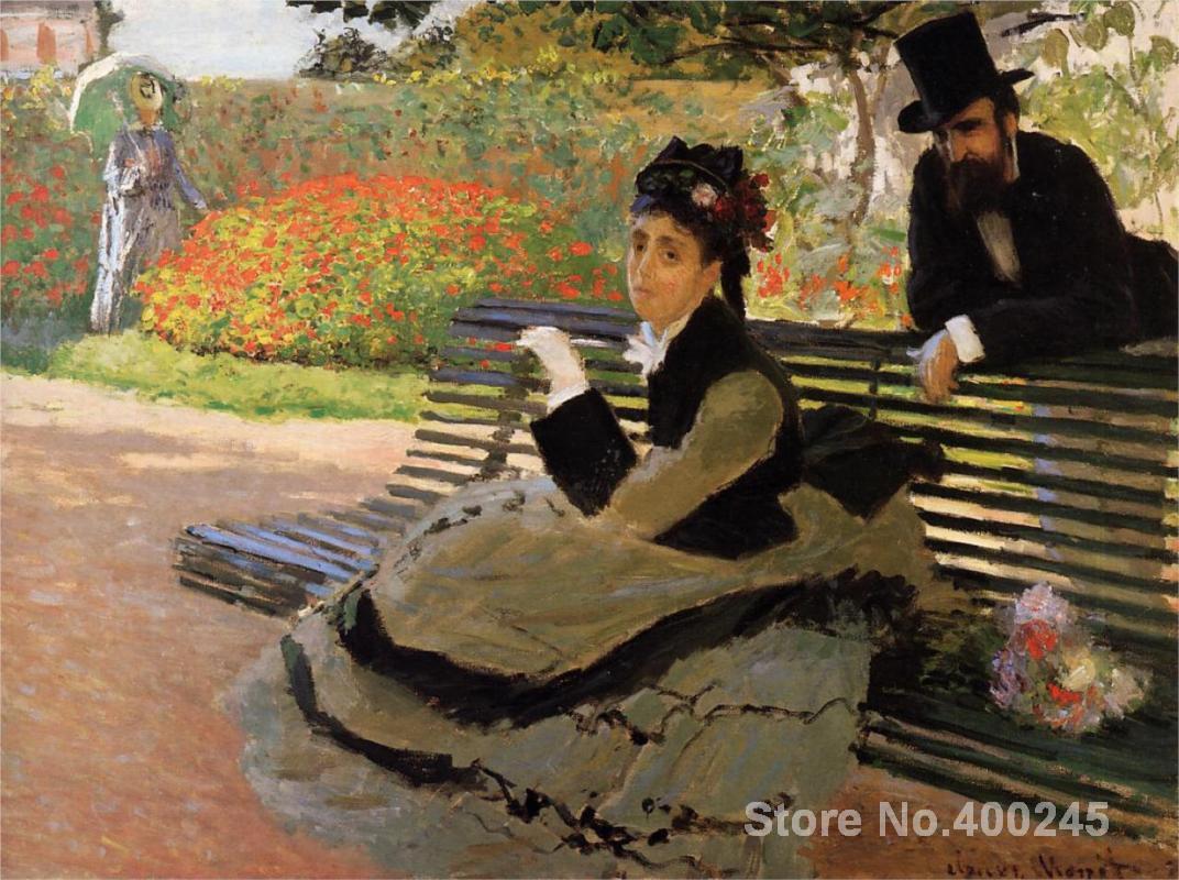 US $106 92 OFF Hadiah Art Online Camille Monet Claude Monet Lukisan Pada Kanvas Di Taman Bangku Kualitas Tinggi Tangan Dicat Bench Seat Bench